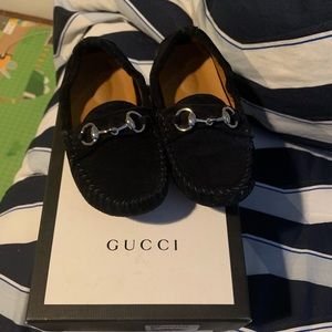 Boys Gucci Loafers size 24 Navy blue suede